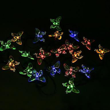 4 8 m con energ a solar 20led luces de cadena butterfl for Luces de navidad solares para exterior