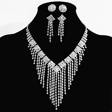 Buy Wedding Bridal Bridesmaid Jewelry Sets 2 Pairs Earrings 1 Crystal Necklace Sparkle Party Decorations