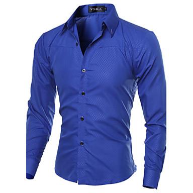 Men's Fashion Obscure Diamond Lattice Slim Fit Long-Sleeve Shirt