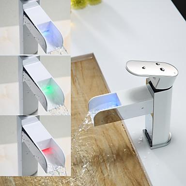 contemporain montage led with valve en c ramique mitigeur un trou for chrom robinet lavabo de. Black Bedroom Furniture Sets. Home Design Ideas