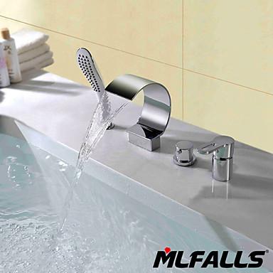 Modern inbouw waterval inclusief handdouche with keramische ventiel twee handgrepen vier gaten - Moderne badkraan ...