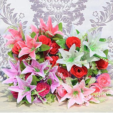12 cabezas lirios flores artificiales rosas flores de seda - Plantas artificiales para decoracion ...