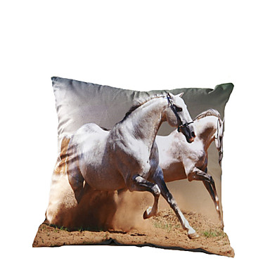 Decorative Pillows Horses : 3D Design Print Horse Decorative Throw Pillow Case Cushion Cover for Sofa Home Decor Polyester ...