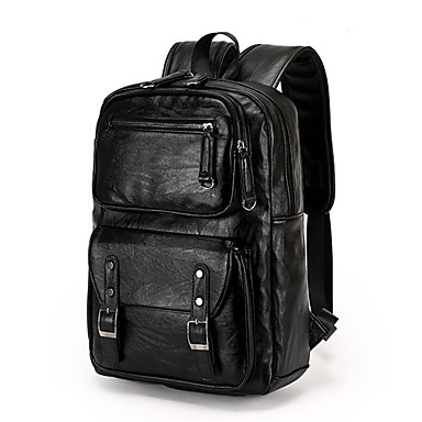 Men PU Bucket Backpack / School Bag / Travel Bag - Black