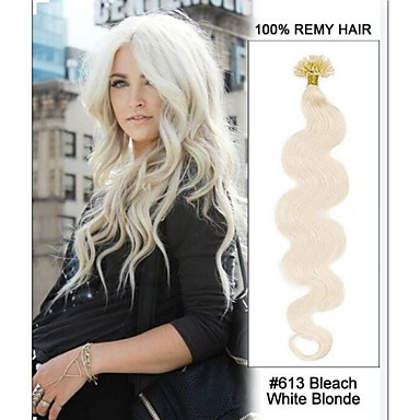 Buy 20inch#613 Bleach White Blonde Body Wave Nail Tip U 100% Remy Hair Keratin Extensions-100 strands, 0.5g/strand