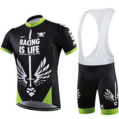 Buy Cycling Jersey Bib Shorts Women's / Men's Unisex Short Sleeve BikeBreathable Quick Dry Wearable Compression 3D Pad Back