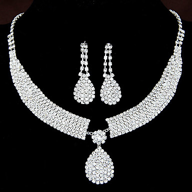 women 39 s shiny rhinestone bridal sets bridal accessories water droplets