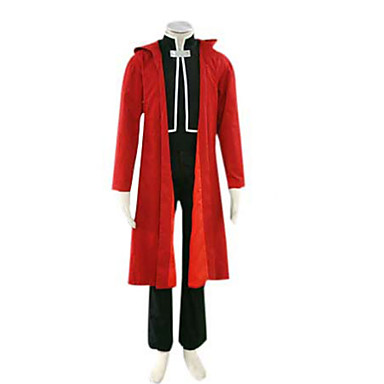 Buy Inspired Fullmetal Alchemist Edward Elric Anime Cosplay Costumes Suits Patchwork Red Long Sleeve Cloak Coat Vest Pants Male