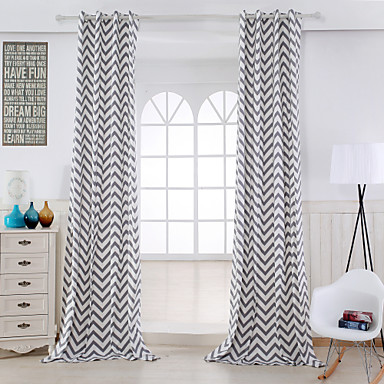 Two Panels Modern Stripe Grey Living Room Cotton Panel Curtains Drapes ...