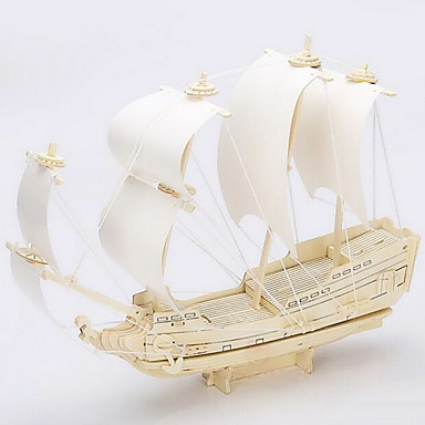 Buy Jigsaw Puzzles 3D / Wooden Building Blocks DIY Toys Ship Wood Beige Model & Toy