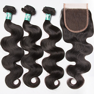 3 Pieces Body Wave Human Hair Weaves Brazilian Texture 350 12-28 Human Hair Extensions