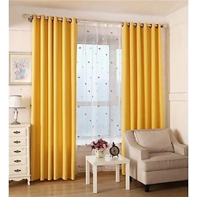 Two Panels Solid Living Room Cotton Blackout Curtains Drapes 4895501 2016