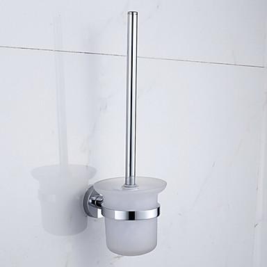 Porte brosse de toilette chrome fixation murale 28 23 18cm for Brosse toilette murale
