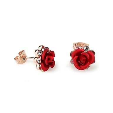 Buy HKTC Red Flower Stud Earrings Rose Lover 18k Gold Plated Austrian Crystal Jewelry