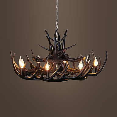 Vintage antler chandelier lighting industrial fixture for Chandelier lights for living room