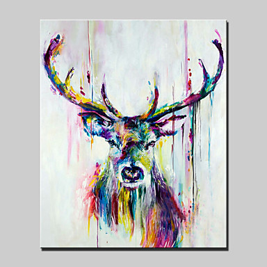 Lager handpainted deer animal oil painting on canvas wall for Art painting for home decoration