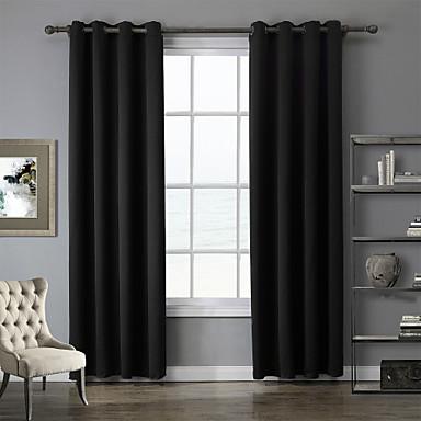 deux panneaux moderne solide noir chambre coucher polyester rideaux occultants rideaux de. Black Bedroom Furniture Sets. Home Design Ideas