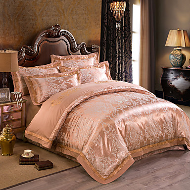 Golden luxury silk cotton blend duvet cover sets queen for Luxury cotton comforter sets