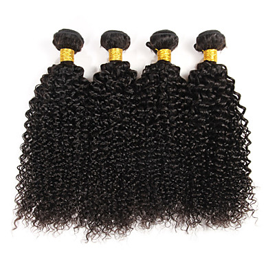 4 pcs lot brazilian curly virgin hair weave natural black