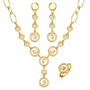 Buy Luxury Women Cubic Ziroia Jewelry Set 18k Gold Plated Fashion Round Shaped Necklace&Earrings&Ring Gift NB60084