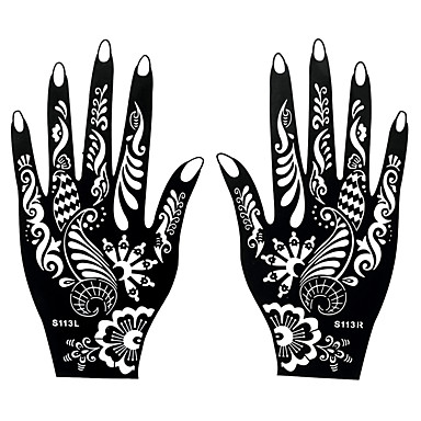 2pcs henna mehndi airbrush hands art tattoo stencil for Henna temporary tattoo stencils
