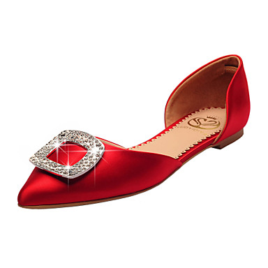 Buy Women's Shoes Satin Flat Heel D'Orsay & Two-Piece / Pointed Toe Closed Flats Wedding Party Evening Dress Red