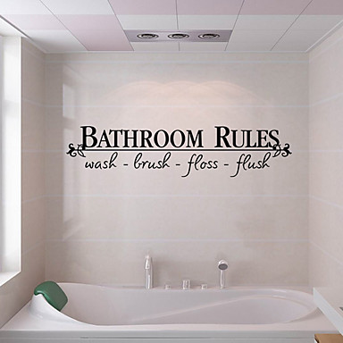 Creative fashion english words bathroom rules wall for British word for bathroom