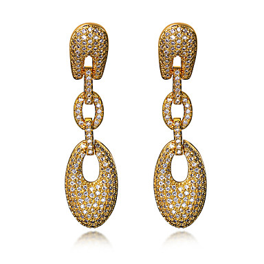 Buy Long Drop Earrings Jewelery Women Fashion Cubic Zircon Platinum & 18K Gold Plated Copper Earring Jewelry