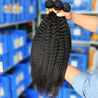 3Pcs/Lot 10''-26''Brazilian Virgin Hair Natural Black Kinky Straight Raw Human Hair Weave