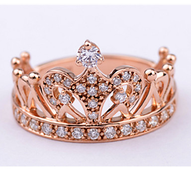 Buy 18K Rose Gold Plated Royal Crown Design Anniverary Ring Wife Sterling Silver Wedding Party Gift