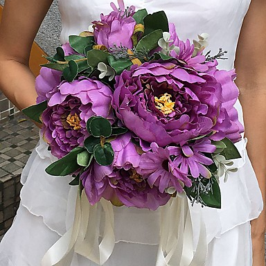 Buy Wedding Flowers Round Peonies Bouquets / Party/ Evening Satin 9.84(Approx.25cm)