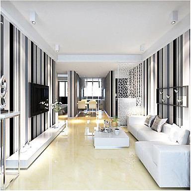 Modern black and white grey vertical stripes wallpaper for Grey striped wallpaper living room