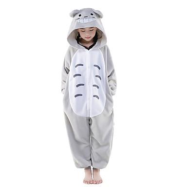 0984df0045d60 Pyjamas Kigurumi Enfant Chat Animal Déguisement Polaire Gris Cosplay pour  Garçons et filles Noël Halloween Carnaval