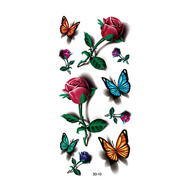 1pc women waterproof temporary tattoo simulation body art butterfly barbed wire and roses 3d 10. Black Bedroom Furniture Sets. Home Design Ideas