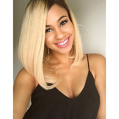 Women's Synthetic Wig Short Straight Hair Ombre 1B/Blonde Color Wig Heat Resistant Cospaly Wig