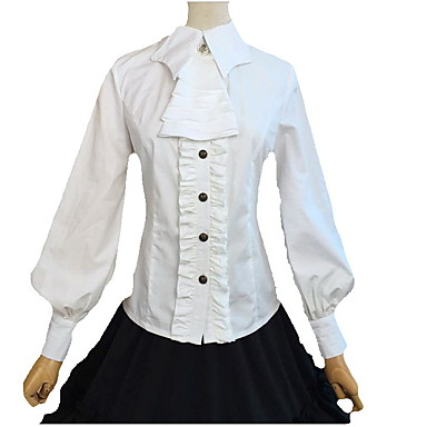 Buy Blouse/Shirt Sweet Lolita Cosplay Dress Black White Solid Long Sleeve FRP