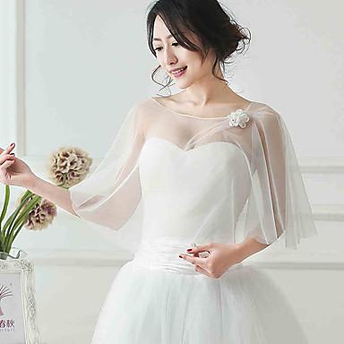 Women 39 s wrap shawls sleeveless tulle ivory wedding party for Petite veste de mariage