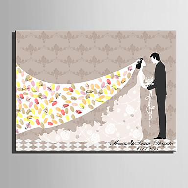 Buy E-HOME® Personalized Fingerprint Painting Canvas Prints -The Bride Broom(Includes 12 Ink Colors)