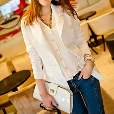 Women's All Seasons Blazer,Solid Long Sleeve White / Black Medium