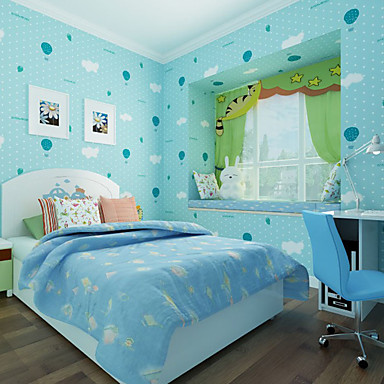 Cute cartoon blue wallpaper kids modern wallpapers for Wallpaper for childrens room