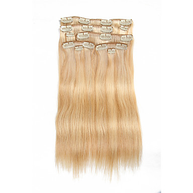 9pcs set clip in hair extensions piano color mixed blonde