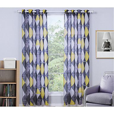 Window Treatment Collection(Curtain&Valances) Curtain Modern , Novelty Living Room Linen/Polyester Blend Material Curtains DrapesHome