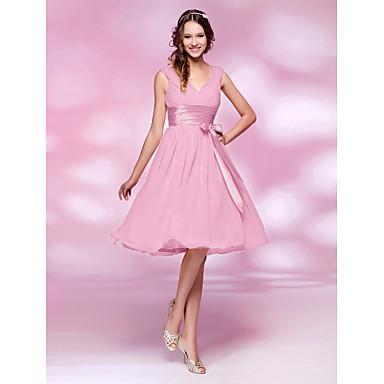 LAN TING BRIDE Knee-length V-neck Bridesmaid Dress - Mini Me Sleeveless Chiffon