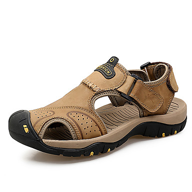 Men's Sandals Light Soles Cowhide Summer Outdoor Light Soles Flat Heel Khaki Dark Brown Brown Flat