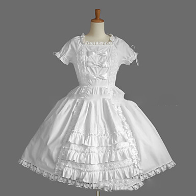 17d4699f86d2a Princess Sweet Lolita Summer Dress Women's Girls' Cotton Japanese Cosplay  Costumes Plus Size Customized White / Black Ball Gown Vintage Cap Sleeve ...