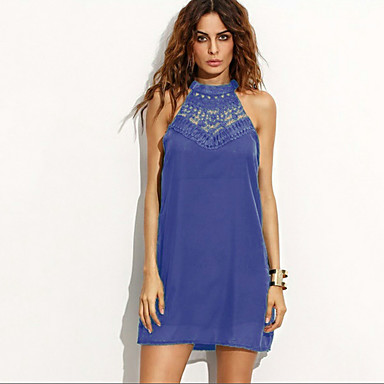 Women's Beach Party Loose Dress,Solid Halter Above Knee Sleeveless Others Spring Summer Mid Rise Inelastic Thin