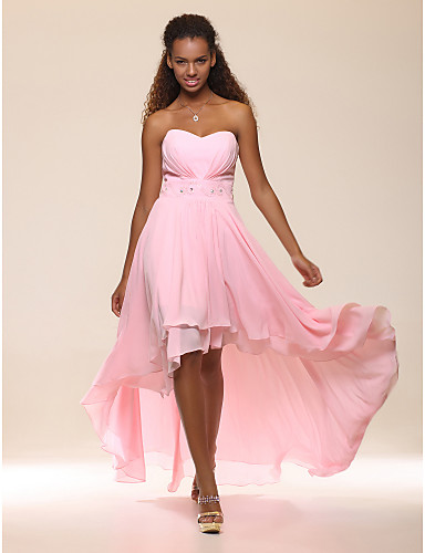 Buy TS Couture® Prom / Formal Evening Dress - Open Back Plus Size Petite A-line Princess Strapless Sweetheart Floor-length Asymmetrical Chiffon