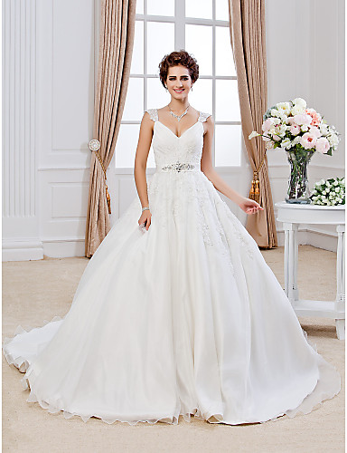 Buy Lanting Bride Ball Gown Petite / Plus Sizes Wedding Dress-Chapel Train V-neck Organza