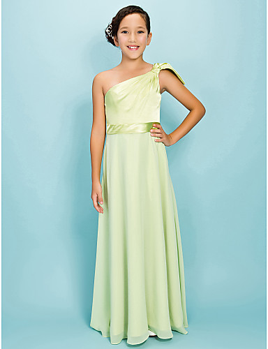 Buy Lanting Bride® Floor-length Chiffon / Stretch Satin Junior Bridesmaid Dress A-line Sheath Column One Shoulder Natural withBow(s)