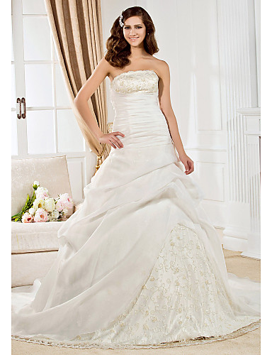 Buy Lanting Bride Ball Gown Wedding Dress-Court Train Strapless (51584)